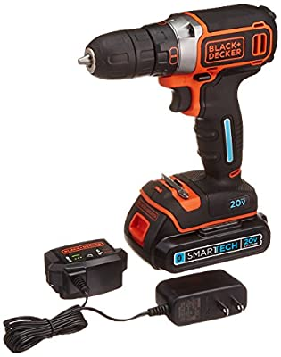 BLACK+DECKER BDCDDBT120C SMARTECH 20V MAX Lithium Single Speed Drill/Driver