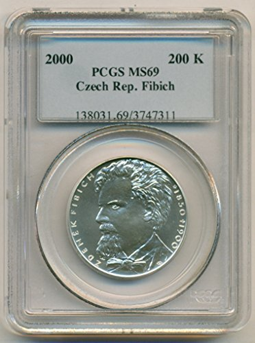 2000 CZ Czech Republic - Fibich Silver 200 Korun MS69 (Silver Czech Coin)