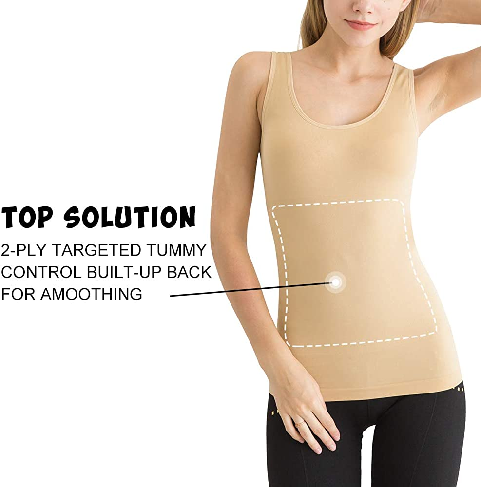 WOWENY Camisole Tops Women Basic Layering Soft Long Tank Top Round Neck Sleeveless Control Vest Cami Seamless Shapewear Tops Slimming Tummy Control Compression Vest