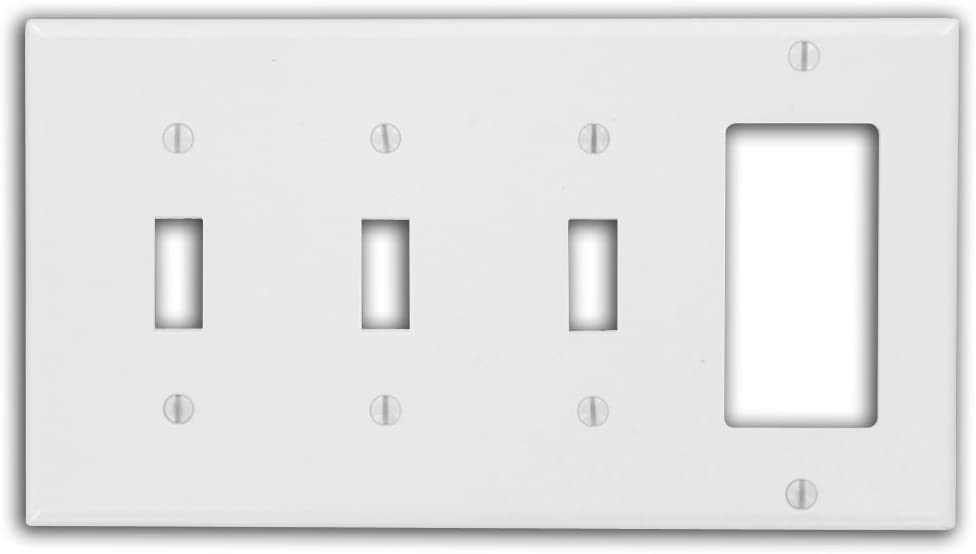 Leviton P326-W 4-Gang 3-Toggle 1-Decora/GFCI Device Combination Wallplate, White