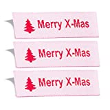 Wunderlabel Merry X-Mas Christmas Crafting Craft Art Fashion Woven Ribbon Ribbons Tag Clothing Sewing Sew Clothes Garment Fabric Material Embroidered Label Labels Tags, Red on White, 50 Labels