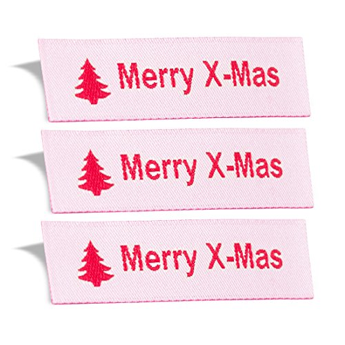 Wunderlabel Merry X-Mas Christmas Crafting Craft Art Fashion Woven Ribbon Ribbons Tag Clothing Sewing Sew Clothes Garment Fabric Material Embroidered Label Labels Tags, Red on White, 50 Labels by Wunderlabel