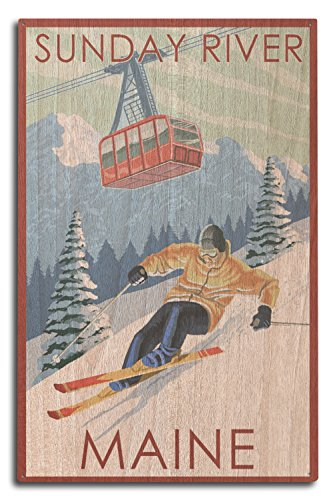 Lantern Press Sunday River, Maine - Skier and Tram (10x15 Wood Wall Sign, Wall Decor Ready to Hang) (River Wall Art Birch)