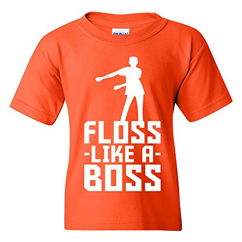 - Floss Like A Boss - Flossin Dance Funny Emote Youth T Shirt - X-Large - Orange