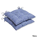 Pillow Perfect Outdoor Seeing Spots Wrought Iron Seat Cushion, Navy, Set of 2 For Sale
