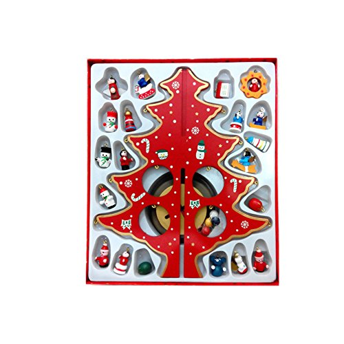 Wekee DIY Wooden Mini Christmas Tree Desk Decoration Home Xmas Ornament for Party, Club, Children's Gift,Red,11.8inch(H) by Wekee