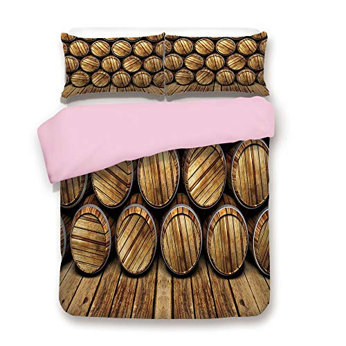 (Pink Duvet Cover Set,King Size,Wall of Wooden Seem Barrels Cellar Storage Winery Rum Container Stack,Decorative 3 Piece Bedding Set with 2 Pillow Sham,Best Gift For Girls Women,Broen Light Brown)