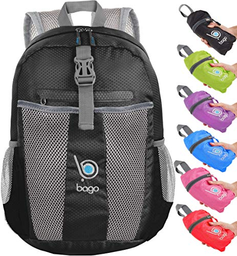 bago 25L Lightweight Packable Backpack - Water Resistant Travel and Hiking Daypack - Foldable and Handy for Camping Outdoor Sports (Black)