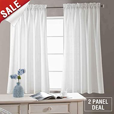Privacy Semi Sheer Curtains for Bedroom Casual Weave Window Curtains for Living Room 54 inches Long Linen Look White Curtain Panels Pack of 2