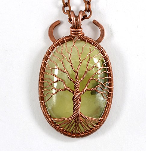 Prehnite Copper Tree-Of-Life Necklace Pendant Protection Amulet Healing stones Family Tree Wire Wrap Jewelry Anniversary Gift for ()