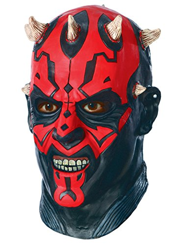 Star Wars Darth Maul Deluxe Adult Overhead Latex Mask, Red, One -