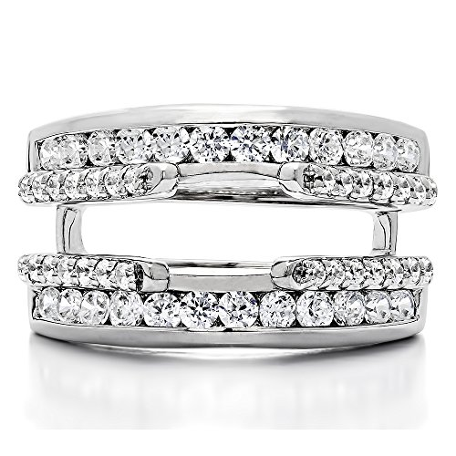 TwoBirch 1.01 Ct. Combination Cathedral and Classic Ring Guard(in 10k White Gold size 7.5) with Diamonds (G,I2)