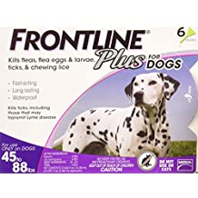 Frontline Plus Flea and Tick Control for Dogs, 45-88 lbs, 6 MO SUPPLY