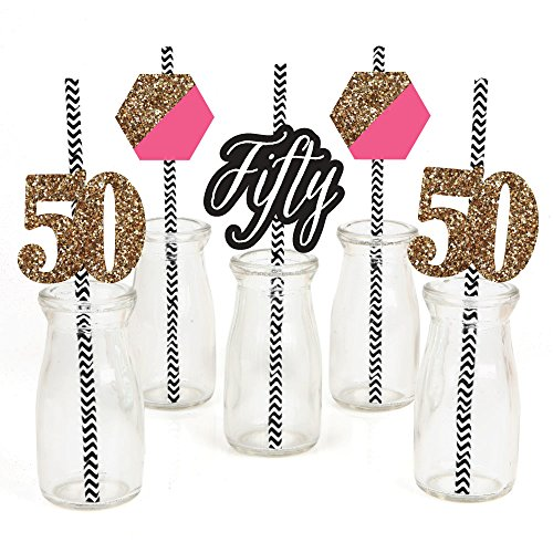 Chic 50th Birthday - Pink, Black and Gold Paper Straw Decor - Birthday Party Striped Decorative Straws - Set of -