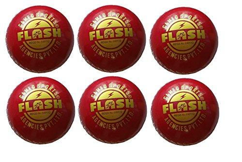Flash Red Pvc Poly Hard Cricket Ball Set Of 6 Balls