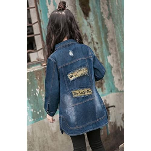 Alion Little Girl Autumn Lapel Cotton Classic Slim Fit Hole Denim Jacket