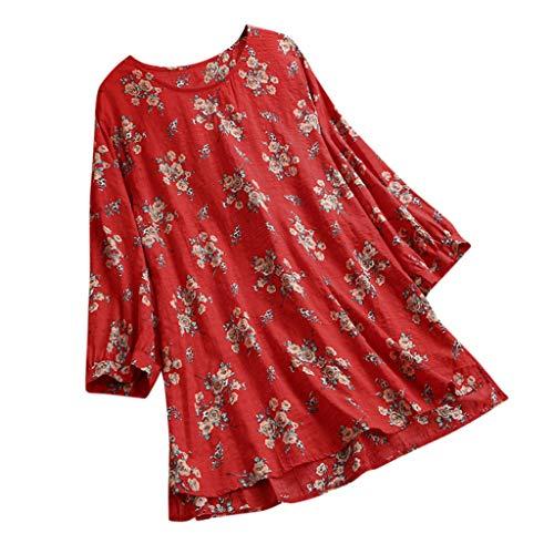 Lucas Harness San - ♛TIANMI Women's Summer Linen Printed Long Sleeve T Shirt Blouse Button Down Top,Women for Tops (Red,XXXL)
