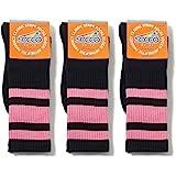 Socco Socks Unisex Black Triple Striped Pink Crew Tube Socks Bundle of 3 Pairs - Small / Medium (6-9)