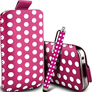 ONX3 Sony Xperia ZR Leather Slip cable protector Polka PU Pull In Pouch Case Quick Release y Mini capacitivo Stylus Pen (Hot Pink & White)