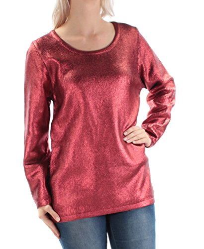 Fairchild $79 Womens New 1537 Red Metallic Long Sleeve Jewel Neck Sweater S ()