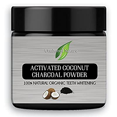 100% All Natural Teeth Whitening Powder - 2.1 OUNCES Coconut Activated Charcoal - Safe Effective Tooth Whitener Solution - Better than Strips, Kit, Gel & Whitening Toothpaste