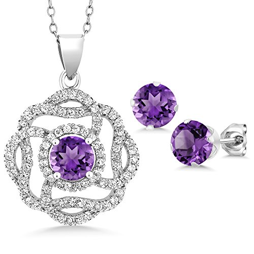 Gem Stone King Purple Amethyst 925 Sterling Silver Gemstone Pendant Earrings Set, 4.16 Ct Round