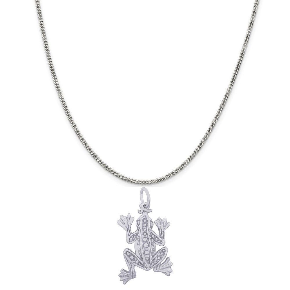 Rembrandt Charms Sterling Silver Leopard Frog Charm on a 16 Box or Curb Chain Necklace 18 or 20 inch Rope