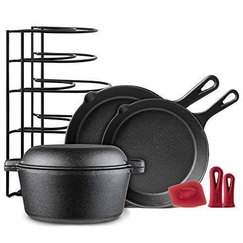 Cast Iron Cookware 5-Pc Set – 10″ + 12″ Skillet + 5-Quart Dutch Oven+ Panrack Organizer + Silicone Handle Covers + Scraper/Cleaner- Pre-Seasoned Chef's Essentials Kit – Stovetop, Grill, Indoor/Outdoor