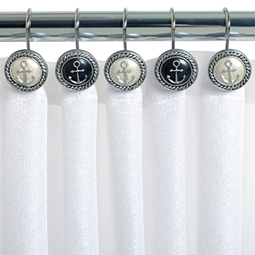 Ayygiftideas Set of 12 European Mediterranean Style Nautical Anchor Shower Curtain Hooks (India Ink Beach Cottage)