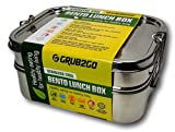 PREMIUM Stainless Steel Lunch Container by GRUB2GO + FREE BENTO FOOD IDEAS GUIDE | Premium 3-Layer 1600 ML Metal Tiffin Bento Box