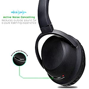 Over The Ear Noise Cancelling Bluetooth Headphones, Wireless Over-ear Stereo Earphones with Microphone Volume Control Sports Stereo for PCs & Tablets Smartphones Multi-Purpose with Travel Bag - Black