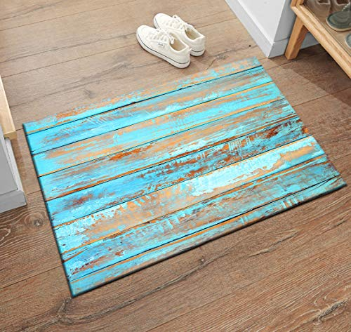 LB Rustic Barn Wood Panel Pattern Print Floor Mat, Vintage Country Themed Welcome Mat, Rubber Backed Nonslip Mat for Entryway Door Kitchen, 19 x 31 ()