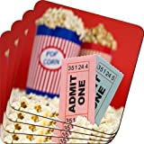 Rikki Knight Movie Stubs and Popcorn Design Soft Square Beer Coasters (Set of 2), Multicolor