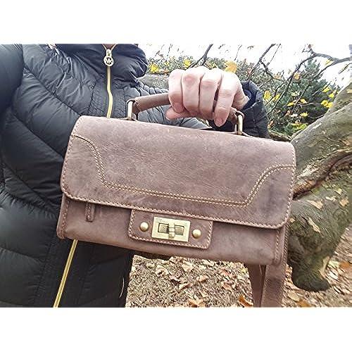 ECW Designer Luxury Leather 10 Inch Womens leather tote Vintage Shoulder satchel top handle cross body Purse Handbag