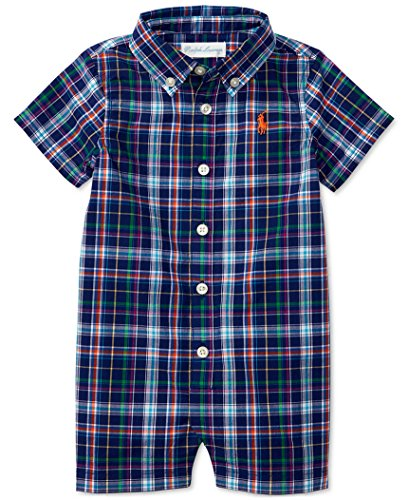 Ralph Lauren Baby Boy Plaid Shortall Blue/Orange Multi