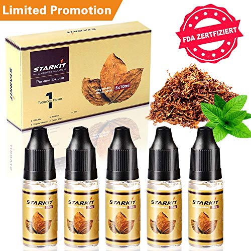 E Liquids 5 X 10ml, Limited Amount Only, Tobacco Flavor for Vape E...