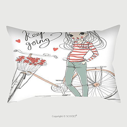 Custom Microfiber Pillowcase Protector Girl With Bike 381825025 Pillow Case Covers (Wicked Witch Bike)