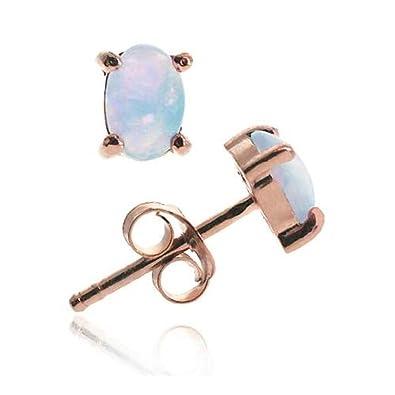 c9cbe4f60 18K Rose Gold over Sterling Silver 6x4 Oval Fiery Created White Opal Stud  Earrings: Amazon.co.uk: Jewellery