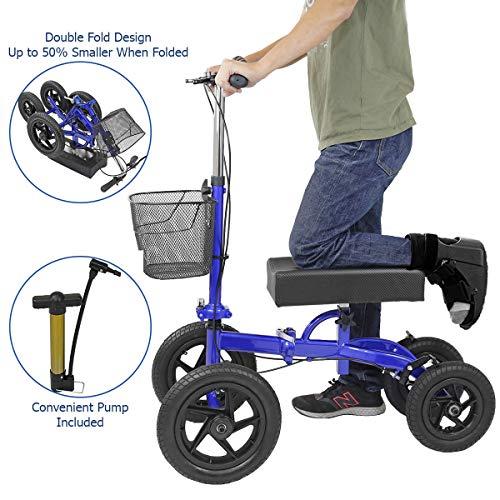 Inflation System Basket - Clevr Quad All Terrain Foldable Medical Steerable Knee Walker Scooter, Blue, Walking Aid Roller for Foot Injuries, Height Adjustable Crutch Alternative, Deluxe Brake System & Basket