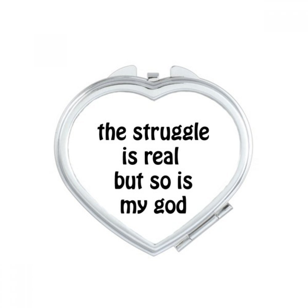 DIYthinker The Struggle Is Real Christian Quotes Heart Compact Makeup Mirror Portable Cute Hand Pocket Mirrors Gift by DIYthinker