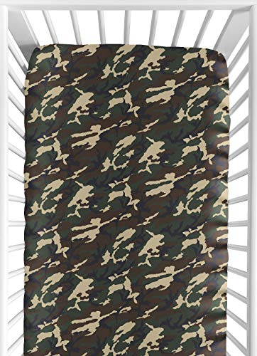 Sweet Jojo Designs Green Camo Fitted Crib Sheet for Baby and Toddler Bedding Sets - Camo -