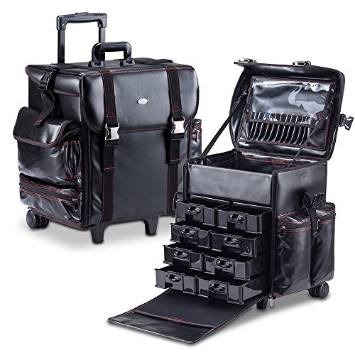 Tool Case Rolling (MUA LIMITED Professional Beauty Makeup Artist Case on Wheels, Soft Cosmetic Case with Trolley and Storage Drawers, Side Compartments and Brush Holders, ULTIMATE Series - Black Leather)