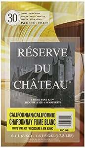 Reserve Du Chateau 4 Week Wine Kit, California Chardonnay Fume Blanc, 17.5-Pound Box