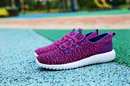 Waltzon Hommes Casual Respirant Athlétique Chaussures De Marche Sport Running Chaussures Sneakers De Mode Violet