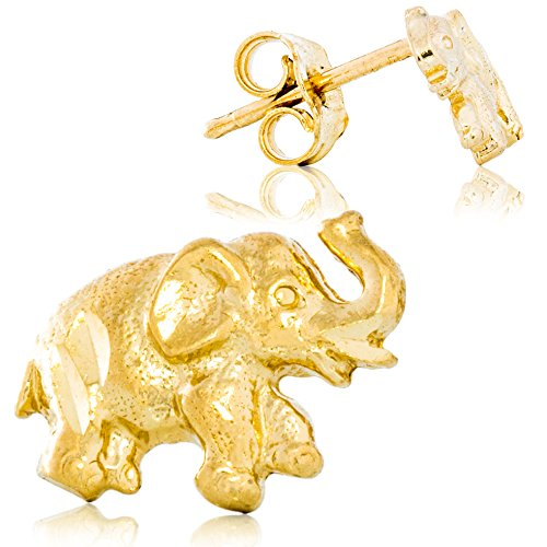 Solid Gold Elephant Earrings 14K Yellow Gold Post Mount with Friction Back 6.4mm Tall by 8.6mm Wide | 0.8g
