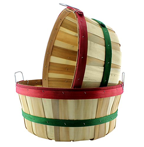 Wooden Baskets Red & Green Round Banded Half Bushel (2-Pack); Shallow Tub Style Large Wood Farm Market Baskets for Holiday & Christmas Decor (Pinterest Christmas Gift Baskets)