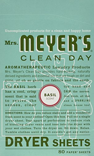 Price comparison product image Mrs. Meyer's Clean Day Dryer Sheets, Basil, 80 Count
