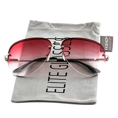 Elite Gradient Oceanic Lens Oversized Rimless Metal Frame Unisex Aviator Sunglasses (Silver Frame/ Red Lens, 2.5) (Frame Metal Rimless)