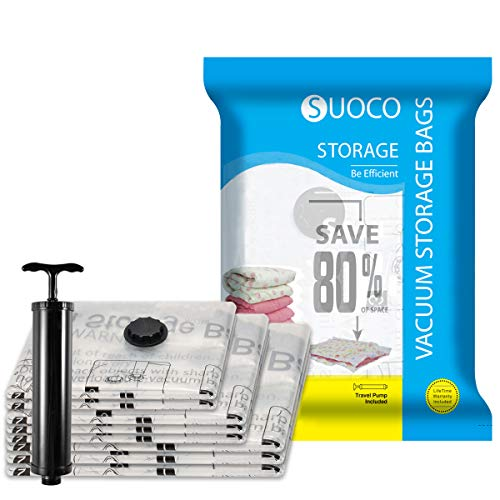 SUOCO Vacuum Storage Bags 9 Pack (3 x Jumbo, Large, Medium) Space Saver Compression Bags with Hand Pump