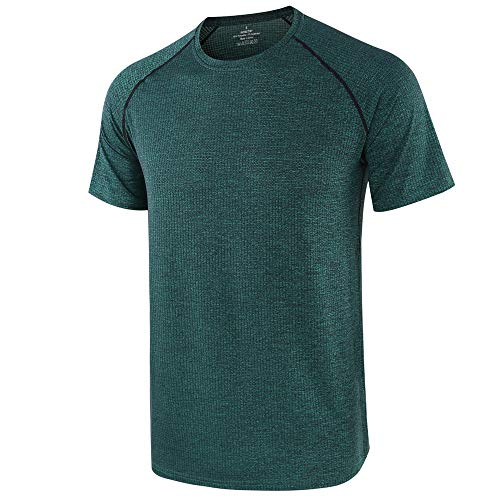 (Men's Loose Dry-Fit Workout Athletic Short Sleeve T-Shirts Green)